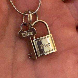 Silver Christian Dior Lock & Key Pendant Necklace